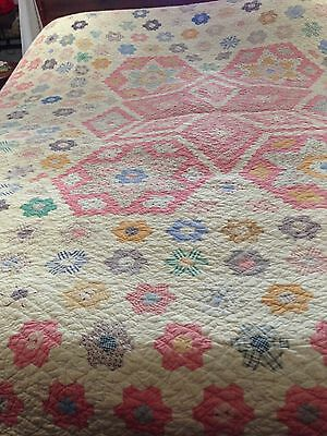"Cleaned Antique Reversible Quilt Bedspread LARGE. 80"" X 86"" 1900. Excellent."