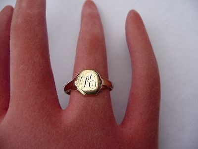 Fab Antique Solid 9Ct Gold Signet Ring Size O 17.58Mm Dia 2.5 Grams Chester 1941