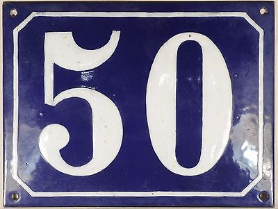 Large old blue French house number 50 door gate plate plaque enamel steel sign