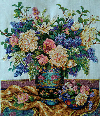 New Finished Completed Cross Stitch - Noble vase - F37
