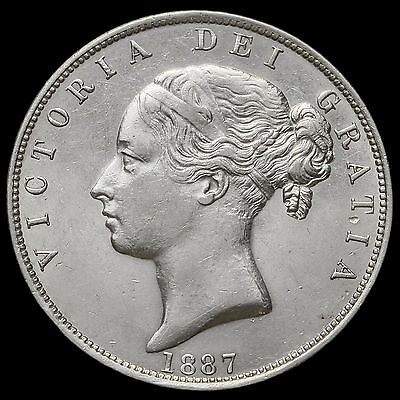 1887 Queen Victoria Young Head Silver Half Crown – EF