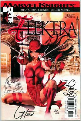 Elektra #1 Df Dynamic Forces Signed Bendis Remarked Sketch Greg Horn Coa Netflix