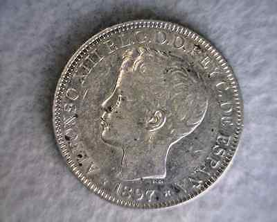 PHILIPPINES PESO 1897 AU SPAIN LARGE SILVER COIN (Stock# 0572)
