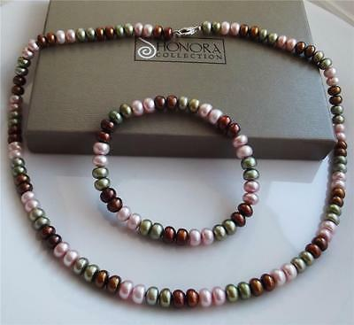 Honora Cultured Fw Pearl Sterling Silver Necklace Bracelet Set New Bag Boxed Qvc