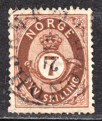 1873 NORWAY #21 7s RED BROWN, VF, CDS CANCEL