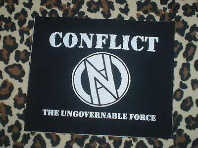 "Conflict ""ungovernable Force"" Cloth Patch Active Slaughter Varukers Uk Punk Diy"