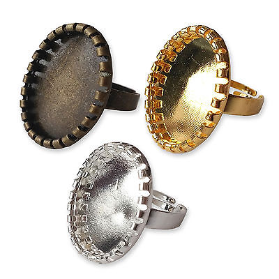 18x25mm Cameo OVAL RING Cabochon Trays Adjustable Bases Blanks Brass Dictionary