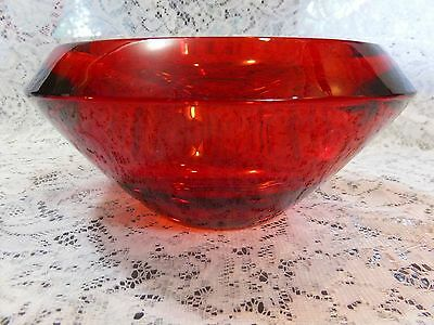 Heavy Ruby Stained Glass Decorative / Candy Bowl - Italian Glass