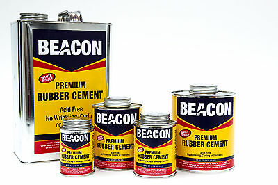 BEACON WHITE RUBBER CEMENT- 8oz can with brush  Dries Clear, flexible, FOAM SAFE