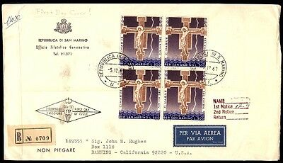 San Marino cross religious issue first day cover block of 4