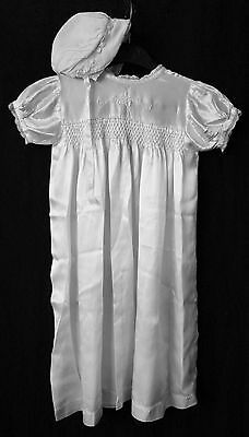 Antique Vintage Christening Gown Baby Dress & Silk Bonnet 1940s Cream Satin