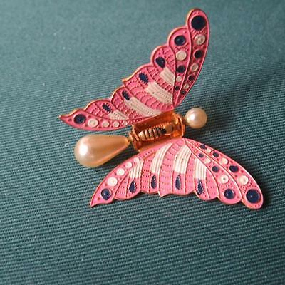 """Vintage Pink Cloissone Butterfly Scarf/Collar Clip Made in Spain 1.5"""" [J70-16]"""
