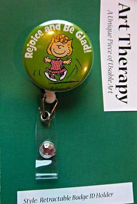 LIMITED EDITION Retractable Reel ID Badge Sally Peanuts Rejoice and Be Glad