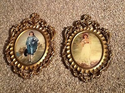 Vintage Oval Italian Picture Frame  Blue Boy & Pinkie Hollywood Regency style
