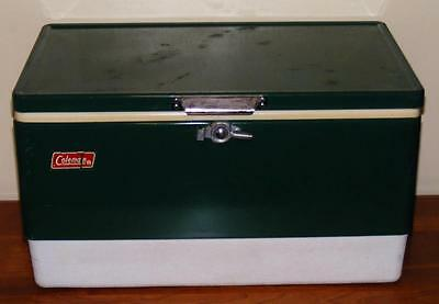 "Vintage Coleman Green Metal Cooler Ice Chest 22"" X 13"" With Drain Wks Free Ship"