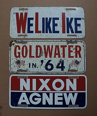 LOT OF 3 Vintage POLITICAL License Plate Topper Tags IKE GOLDWATER NIXON AGNEW