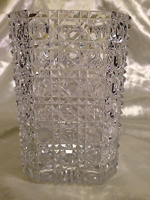 Rare Victorian Lead Crystal Vase with Hobnail Design
