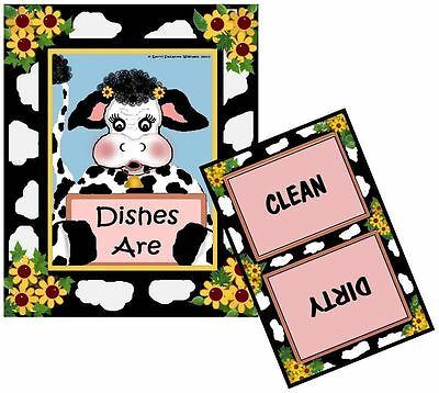 COW DISHWASHER MAGNET - Clean/Dirty - Ship FREE!