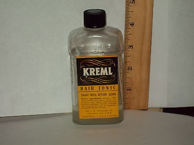 Vintage-Barber-Shop-Advertising-Bottle-J B Williams-KREML-Hair Tonic-Contents