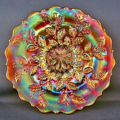 """CARNIVAL GLASS - FENTON HOLLY aka HOLLY & BERRIES Stunning Marigold 9"""" Plate"""