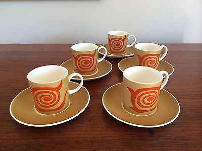 "Retro Susie Cooper Wedgwood England 1960's ""nebula Old Gold"" Coffee Set For 5"