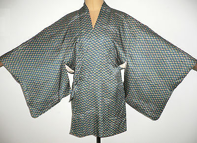 Rare Authentic Vintage Japanese Silk Dochugi (Haori)  Kimono Jacket - Floral