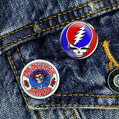 Grateful Dead Classic Rock psychedelic Acid Pin Button Badge 25mm, CHOICE OF 2