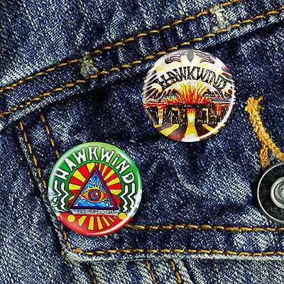 Hawkwind Classic Space Rock psychedelic Pin Button Badge 25mm, CHOICE OF 2