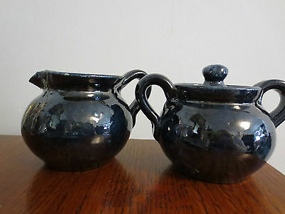 Celia Cole Sanford North Carolina Pottery Creamer & Sugar Bowl Cobalt Blue