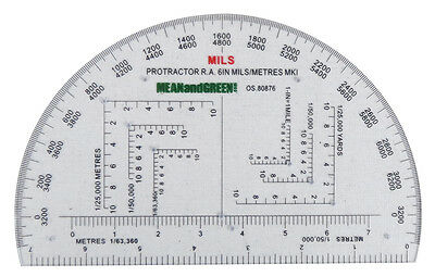 Military Protractor Army Mills RA MOD Pathfinder Romer Cadets  Mils Protracter