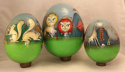 Vintage Mexico FOLK ART Set of 3 Large Paper Mache Eggs - Tonala Mexico
