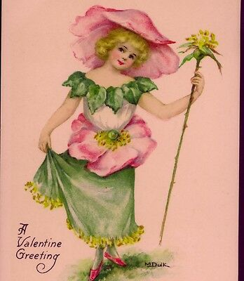 Dainty Wild Rose Flower Fairy,dulk Valentine,lovely Watercolor,vintage Postcard