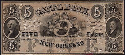 1840's - CANAL BANK, NEW ORLEANS $5 DOLLARS BANKNOTE * Undated Remainder *