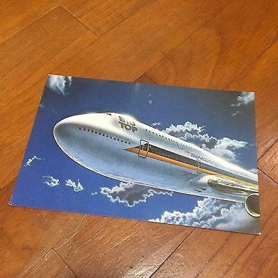 Old Big Top Boeing 747 Plane Singapore Airlines Postcard