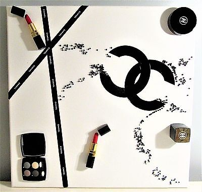 Original Art 3D Mixed Media On Canvas With Use Of Genuine Chanel Factice Makeup