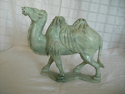 Large hand crafted  Asian pale green soapstone soap stone camel Lovely!