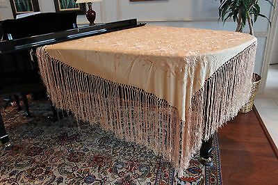 Antique Chinese Hand-embroidered Cream Pure Silk Piano Shawl - 56X48 Long Fringe