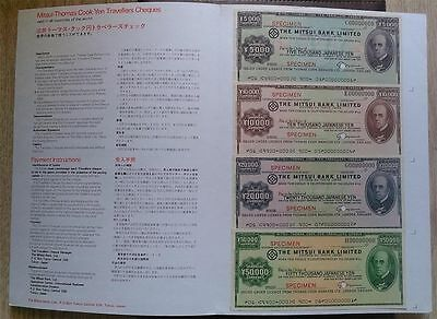 Japan 1976, Mitsui Bank - Thomas Cook, Set Of 5 Specimen Travelers Cheques, Rare