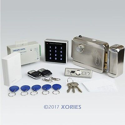 Remote Controlled RFID Door Lock Access Control System Kit + Electric Lock NEW