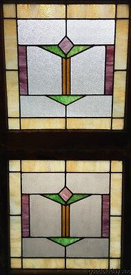 "Pair of Art Deco Stained Leaded Glass Windows from Chicago 25"" by 23 1/2"