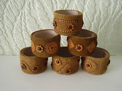 Set Of 6 Leather & Suede Napkin Rings - Very Unusual - All Perfect