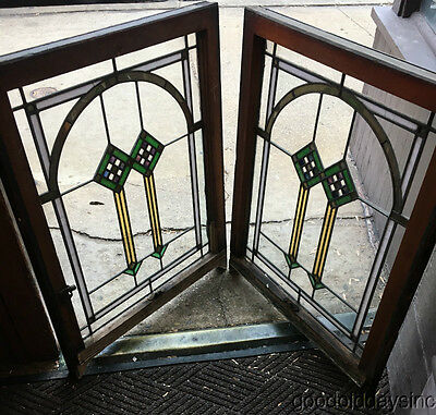 """2 of 9 Antique Chicago Bungalow Style Stained Leaded Glass Window 33 1/2"""" x 26"""""""