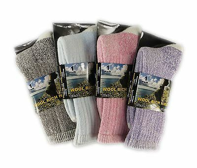 4 Pairs Of Womens Wool Hike Trekking Socks, Thick Walking Work Boot Socks, LS40