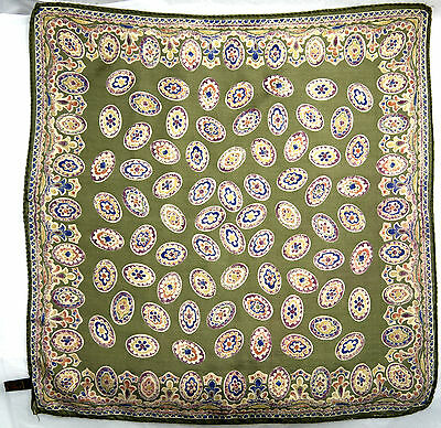 "Beautiful Olive Green Hand Rolled Scarf 100% Silk Size: 17"" X 17"""