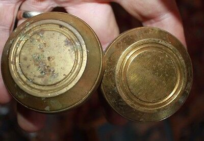 matching 17 brass door knobs with circular decorations Colonial revival 1920's