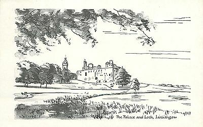 p2155 Palace and Loch, Linlithgow, West Lothian, Scotland postcard unposted