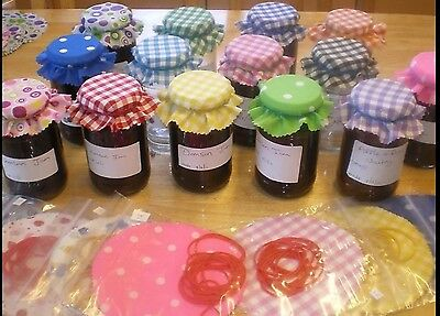 jam jar covers gingham fabric choose any colour or mixed lots x 36