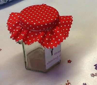 Jam jar lid covers wedding favour  PACK inc covers bands & labels  x 50
