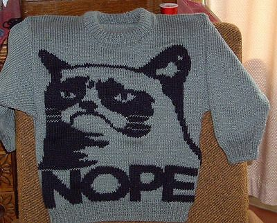 Cat Jumper  New Hand Knitted Size 6  Unisex