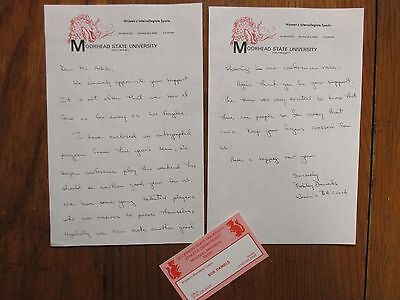 BOBBY  DANIELS  Signed Letter + Card-1982  Moorhead State Women Basketball Coach